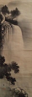 Handpainted scroll painting on fabric of a waterfall, signed/stamped - Japan - Early 20th century