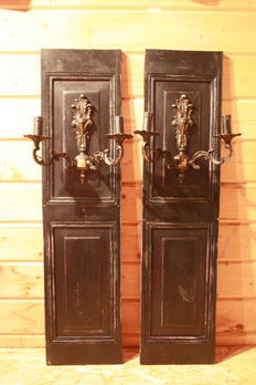 Set of 2 old, decorative panels with metal candlesticks