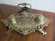 Large bronze inkstand with 2 ink pots and letter holder, France, circa 1900