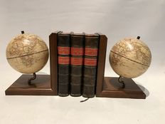 Two design wooden earth globes from the 50s