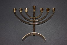Small menorah, 24k gold-plated and handmade in Jerusalem.