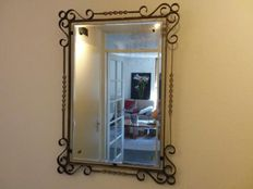 Wrought iron facet cut mirror, 2nd half 20th century