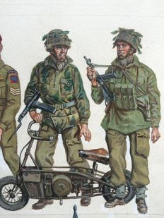 "Funcken, Liliane & Fred - Original gouache illustration (p.57) - ""Les Uniformes & Armes vol. 3 - Guerre 1939-45"" - (1974)"