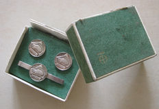 1970's Fiat Polonez Fso sterling silver logo set clip & cufflinks boxed