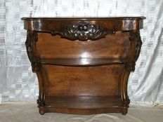 Wall console table in Mahogany with drawer and back wall - around 1900