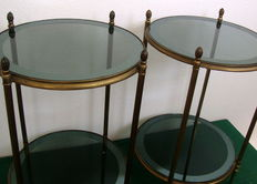 In the manner of Maison Jansen, A good pair of  brass and glass occasional tables, 1970s,