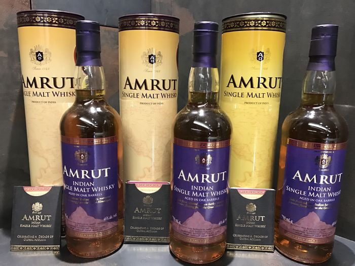 Amrut Single Malt Whisky 46% Taiwan Exclusive 750ml x 3 bottles
