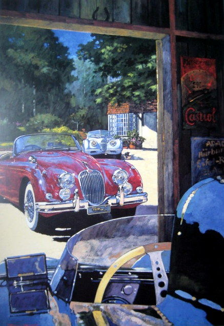 "Kunsttrykk - ""Classic Stable"" - Jaguar XK120/150 and D-Type - 1955-1965"