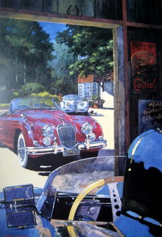 "Art Lithograph - "" Classic Stable "" - Jaguar XK120, Xk150, D-Type - Artist Barry Rowe"