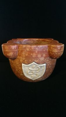 Asiago red marble apothecary mortar - Asiago, Italy - 20th C