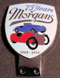 Morgan car badge - 75 Years of Morgan 1909/1984 - late 20th century