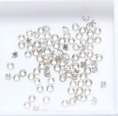 100 diamonds – 5.00 ct., color I-J clarity I