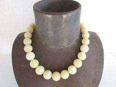 White yellow Baltic Amber necklace round beads, 102g