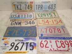 10 original American USA license plates