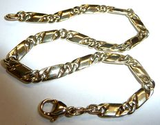 Solid gold bracelet, arm chain figaro pattern in 14 kt / 585 gold