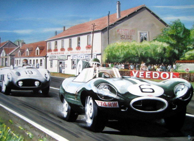 Fine Art :  Jaguar D Type and Mercedes-Benz 300 SLR - Juan Manuel Fangio/Mike Hawthorn at Le Mans 1955 - Artist :  Bernard Reeves