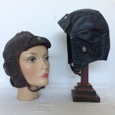 Two leather pilot / driver hats - size 57 - mid 20th century