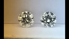 Pair of Round Brilliant 1.03ct in total weight D SI2 - EGL USA WITH UGS APPRAISAL