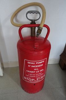 Old fire equipment - bucket pump, year 1950/1960, origin: France