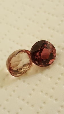 Pair of pink tourmalines - 1.92 ct and 1.42 ct
