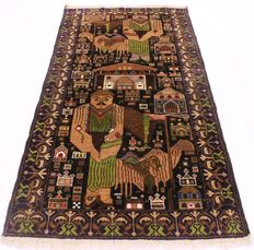 Beautiful old handwoven Oriental Belutsch picture carpet, unique, 110 x 210 cm, made around 1950