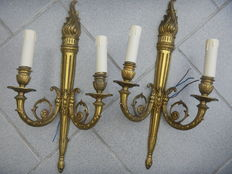 pair of bronze wall lights, Louis XVI style, France, mid 20th century