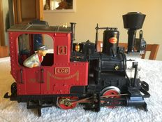 Scale G - LGB - Steam engine with a railroad worker