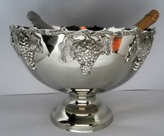 Large Champagne cooler in Art Deco style decorated rim with grapes, 21st century