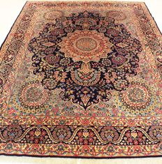 Old hand-knotted Persian palace carpet, old flower Lawer Kirman Kerman oriental carpet, 300 x 400 cm, Tapis Tappeto carpet