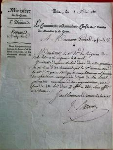 Autograph written letter written by General BARNIER  Ministre of war of Napoleon military order 1811