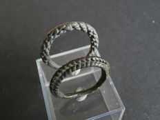 Two early medieval Viking finger rings made of billon  19 mm (2)