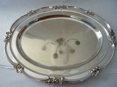 Large silver plated serving tray with decorated edge, Mappin & Webb, first half 20th century