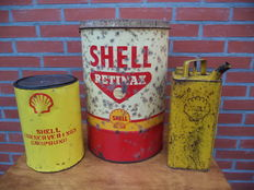 Lot Shell oil cans - petroleum - Retinax Grease