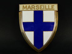 Vintage Chrome and Enamel France Marseille Car Auto Badge 6.5 cm x 5 cm not including fixing bracket