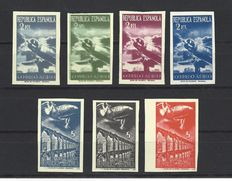 Spain 1939. Airplanes and landscape. 2nd issue, NE 39s/45s cert. Fco del Tarré