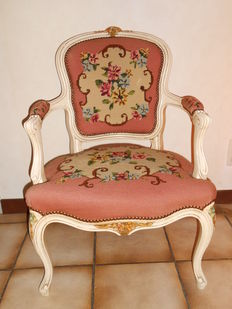 A white polished armchair in Louis XV style, first half of 20th century