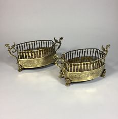 A pair of brass planters