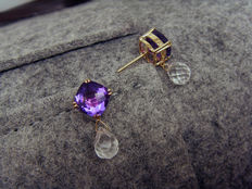 14K yellow gold with 4.23ct amethysts 3.49ct rock crystals earrings