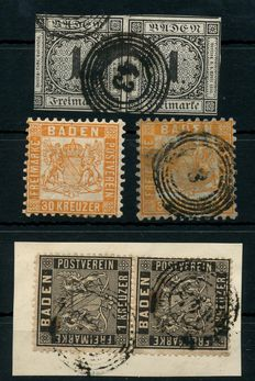 Baden 1851/1868 - collection on 4 post cards with over 150 stamps, including 30 Kreuzer Michels and 22 Landposts - Porto-stamps