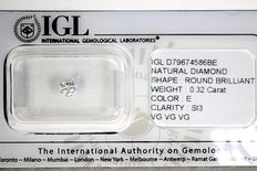 Diamond - 0.32 ct - E/SI3 - No Reserve Price