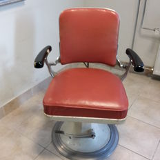 Antique - Leather - barber's chair-