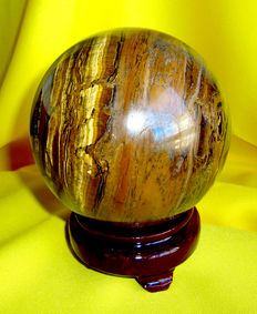 Lovely Tiger's Eye sphere, with stand - 100 mm -  1530gm
