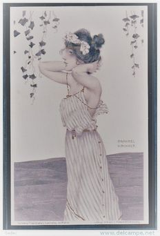 Old illustrator postcards Raphael Kirchner - art nouveau lithography 1900+-