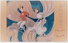 Old illustrator postcards Raphael Kirchner Santoy - art nouveau 1901