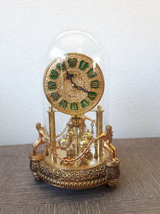 Antique Kern & Söhne Figural Anniversary Clock with Glass Dome – 1960