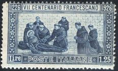 Italy, 1926 – Victor Emmanuel III Saint Francis 1.25 Lire 13 ½ perforation on thin paper