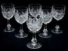 6 wine glasses in Baccarat crystal, signed - model Colbert, France, 20th century