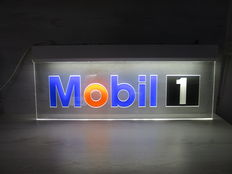 Original billboard wall sign Mobil 1 with lighting dim 100cm x 40cm - 20th century