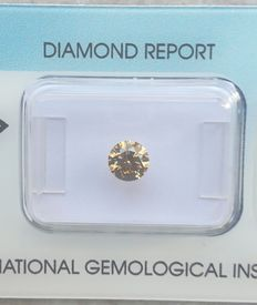 Round 0.55 ct Diamond Ideal Cut Excellent Fancy Deep Yellowish Brown SI1