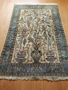 AUTHENTIC VINTAGE HAND-KNOTTED PERSIAN QUOM  150x100cm Wool&Silk